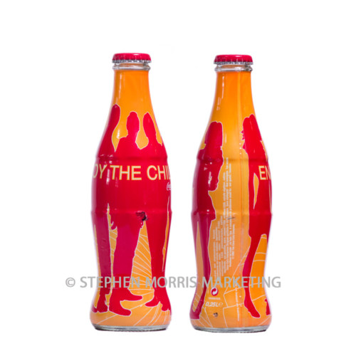 Belgian 'The Chill' red/orange glass bottle. Product Code CCC-0042-0