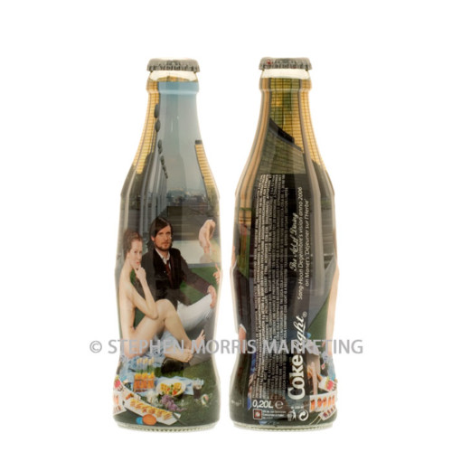 Coca-Cola Belgium 'The Art of Dining' Coke light bottle, glass, issued in 2006. Bottle 2 - Outdoor dining. Product Code CCC-0076-0
